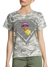 NWT Authentic MARC JACOBS Women's Julie Verhoeven Camo Mouth Tee Sz L $225