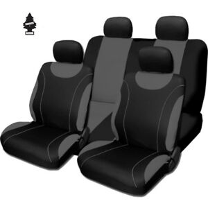 For Nissan New Black and Grey Cloth Car Truck Seat Covers With Gift Full Set
