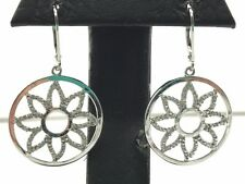 Sterling Silver 925 Round Circle Diamond Flower Drop Dangle Lever Back Earrings
