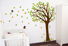 7FT TREE DECAL - WIND BLOWING 7FT TREE WALL DECAL w/ BIRDS Art Sticker Mural