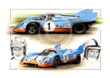 PORSCHE 917 GULF Pedro Rodriguez Jo Siffert Le Mans New Painting Print Portrait