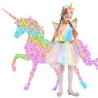 Kids Girls Unicorn Princess Rainbow Costume Tutu Dress Halloween Cosplay Party