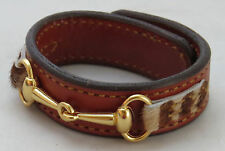 Amish Handmade Leather Faux Fur Horse Snaffle Bit Equestrian Bracelet USA