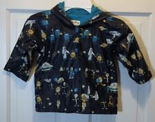 Baby Boys Hatley Snap Button Up Rain Jacket Coat Hooded Size 12-18 Months Aliens