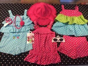 Gymboree Ice Cream Sweetie romper top shorts hat hair jewelry sunglasses 5 6 lot