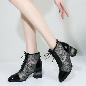 Womens New Fashion Leather Floral Mesh Block Heel Lace Up Ankle Boots Shoes QKSQ