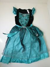 Tesco F&F Halloween Witch Fancy Dress Costume 11-12 Years Turquoise Spider Webs