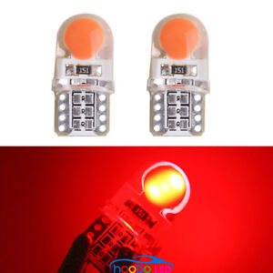 2pcs Red silicone shell T10 Wedge COB LED Light Lamp Bulbs W5W 192 168 194