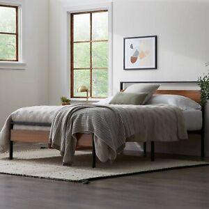 Rustic Sturdy Wood And Metal Hybrid Platform Bed Frame (King Size)