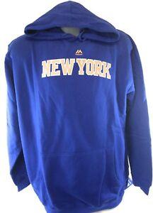 NEW Mens MAJESTIC New York NY Knicks Screen Print Blue Hoodie NBA Sweatshirt