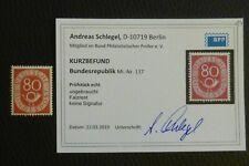 BRD/Bund POSTHORN Michel-Nr.: 137 (80 Pf) KURZBEFUND Schlegel BPP