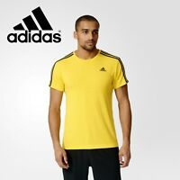Adidas Mens Yellow Essentials 3 Stripes Tee T Shirt Top Gym Free Tracked Post