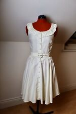 Vintage 1950s 1980s Rona Cream Dress 8 10 Petticoat Pearls