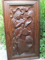 Vintage Antique Carved wood panel picture of the Goddess Venus in wood frame