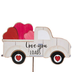 White Love Truck Wood Garden Stake.Plant it in a flower pot or in the flower bed