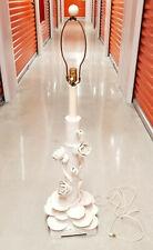 "Mid Century Italian Ceramic Faux Bamboo & Lotus Flower Table Lamp 33"""