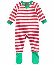 Family PJs Infant Holiday Stripe One Piece Pajamas Red 12 MOS