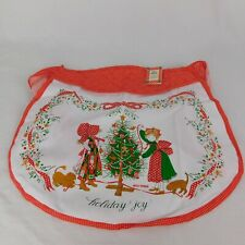 Holly Hobbie Vintage Christmas Apron Prequilted Fabric Trimming the Tree Red