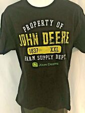 John Deere T Shirt Mens Size Medium Black Farm Tractor Logo Vintage NEW