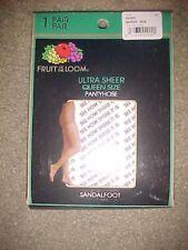 Fruit of the Loom Pantyhose Size Q Ultra Sheer Ivory Color Sandal Foot  2005 Vtg