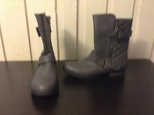 Grey Ankle Boots Booties Chunky Block Heel Size 6/7