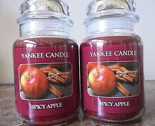 Yankee Candle  Spicy Apple  22 oz. Lot of 2  NEW  Candles Free Shipping FALL