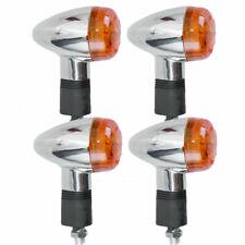 4 For Motorcycle Chrome Bullet Front Rear Turn Signal Blinker Indicator Lights