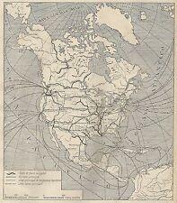 A4829 America del Nord - Vie Comunicazione - Carta geografica antica del 1953