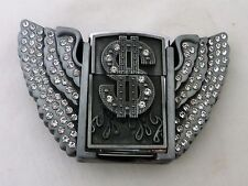 Winged Dollar Sign Shaped Men's Windproof Lighter Holder Belt Buckle