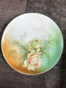"""Vintage Antique Dresden China Plate 1880s Roses Handpainted 9.5"""""""