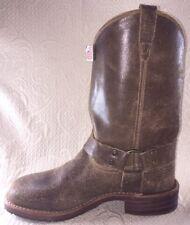 ABILENE Men 8.5 Boots Harness Brown Rawhide Leather Motorcycle Biker Western NEW