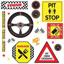 Racing Racecar 18 WaLL DeCaLS Race Cars Kids Room Decor Stickers Flag Trophy NEW