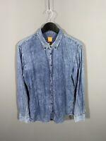 HUGO BOSS DENIM Shirt - Large - Slim Fit - Blue - Great Condition - Men's