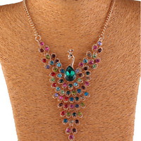 Fashion Colorful Rhinestone Crystal Peacock Choker Bib Statement Chain Necklace