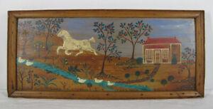 Antique Primitive Folk Art Painting on Wood Board House Horse Ducks Stream yqz