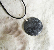 Dark GREY LARVIKITE Round Stone Pendant With Velvet Cord Necklace