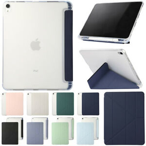 For Apple iPad Smart Leather Clear Cover Folio Stand Case With Pencil Holder