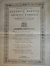 1834-Nozze BEATRICE BERTINI col GIUSEPPE RAMBELLI-FORLI-MANIFESTO-SONETTO