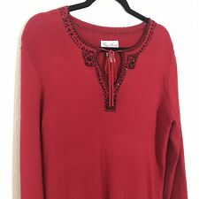 Fred David Womens Sweater  L Red Black Embellished Beading Tie Neckline