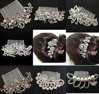 New Bridal Ivory Color Pearl Clear Austrian Crystal Wedding Tiara Hair Comb