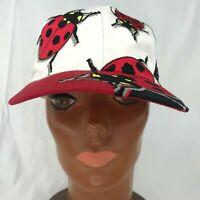 Embroidered Ladybug Hat Cap Bug Insect Lover Luck Men Women Black Red Adjustable