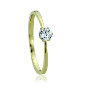 Women's Fine band 14K Gold 0.25 ct Round CZ Classic Solitaire Engagement Ring