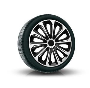 "Set 4 // 16"" HUB CAPS 16 Inch Wheel Trims HQ ABS Plastic Universal Push-In / 013"