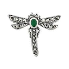 925 Silver Marcasite & Emerald Dragonfly Brooch