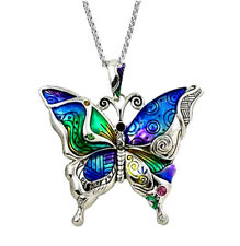 "Large Colorful Butterfly Pendant Necklace on 24"" Stainless Steel Chain"