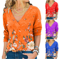 Women V Neck Long Sleeve Floral T-Shirt Loose Blouse Casual Tunic Tops Plus Size
