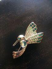 Vintage Monet Hummingbird In Flight Pin w/ Jelly Belly & Green Rhinestone Wings