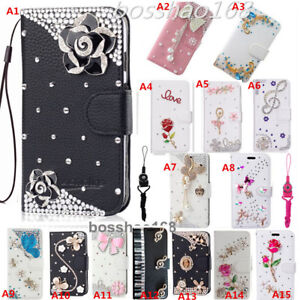 Crystal Diamond Leather Flip wallet Cover Case For Alcatel TCL LX (A502DL)