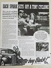 1937 Buick Car Each Spark Sets Off a Tiny Cyclone Engine Original  Ad