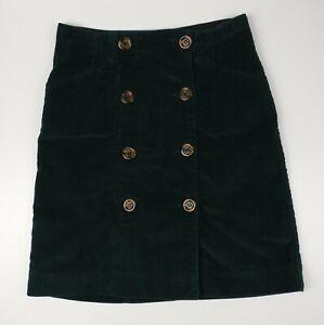 Jigsaw Deep Green Cord Double Button Midi Skirt Size UK 6 EU 34 - BNWT RRP £89